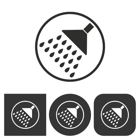 rinse: Shower - black and white icons. Vector illustration. Illustration