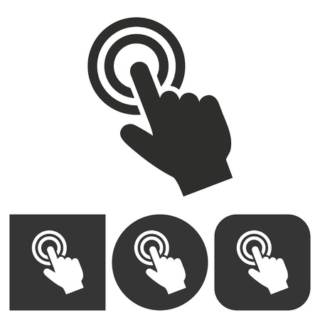 touch: Touch - black and white icons. Vector illustration. Illustration