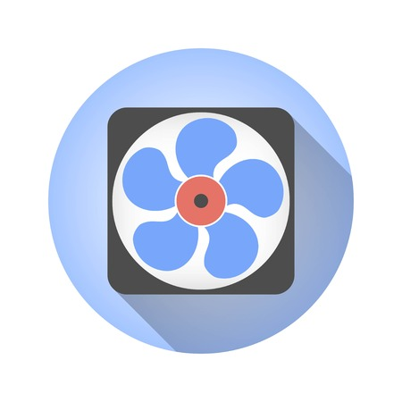 aeration: Fan vector icon with long shadow. Illustration isolated for graphic and web design.