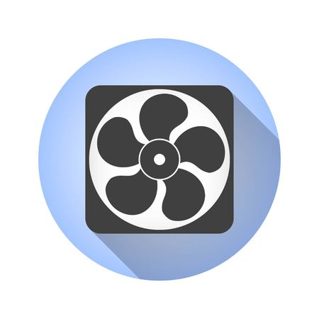 rotor: Fan vector icon with long shadow. Illustration isolated for graphic and web design.