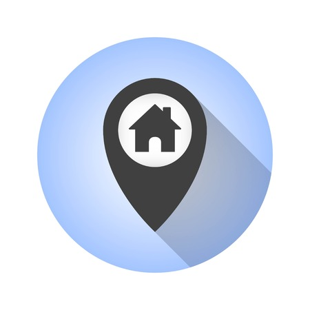 map pin: Map pin vector icon with long shadow. Illustration isolated for graphic and web design.