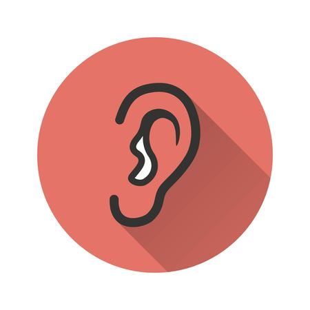 Ear vector icon with long shadow. Illustration isolated for graphic and web design. Illustration