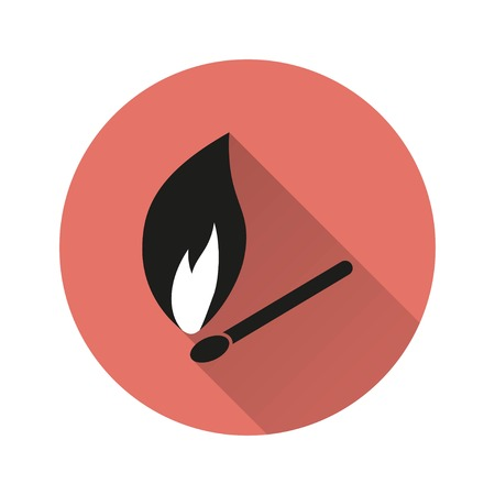 Match vector icon with long shadow. Illustration isolated for graphic and web design.