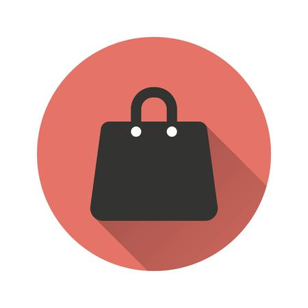 shopping bag vector: Shopping bag vector icon with long shadow. Illustration isolated for graphic and web design.