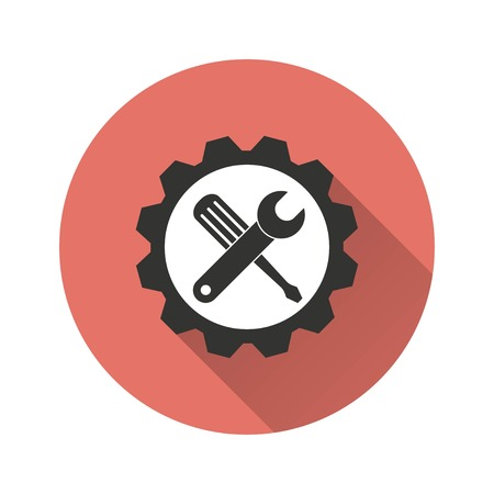 Tool vector icon with long shadow. Illustration isolated for graphic and web design.