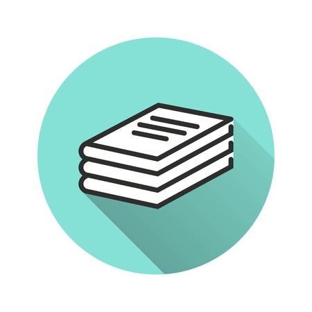 Book vector icon with long shadow. Illustration isolated for graphic and web design.