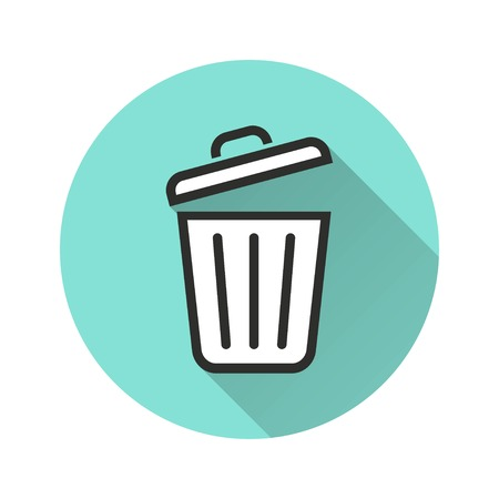 Bin vector icon with long shadow. Illustration isolated for graphic and web design. Illustration