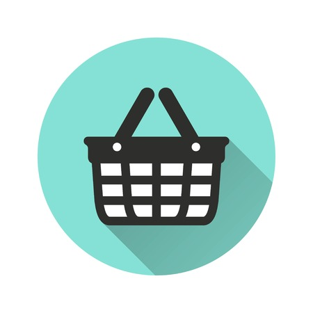 Shopping basket vector icon with long shadow. Illustration isolated for graphic and web design.