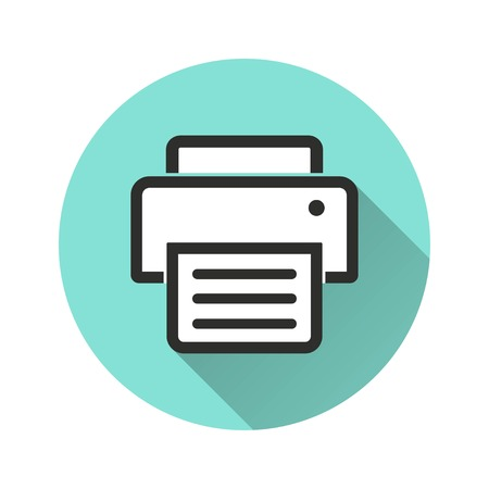 Printer vector icon with long shadow. Illustration isolated for graphic and web design.