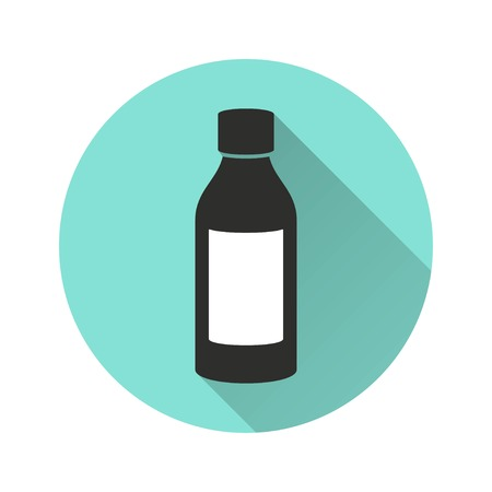 pill prescription: Medicine bottle vector icon with long shadow. Illustration isolated for graphic and web design.
