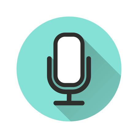 amplification: Microphone vector icon with long shadow. Illustration isolated for graphic and web design.