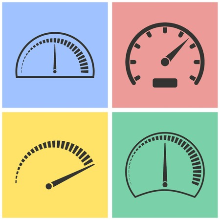 instrument panel: Speedometer vector icons set. Illustration isolated for graphic and web design.