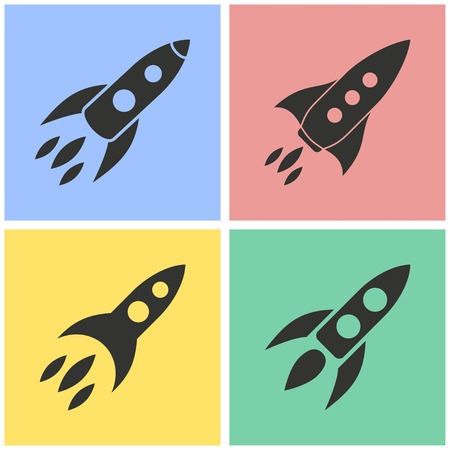 Rocket vector icons set. Illustration isolated for graphic and web design.