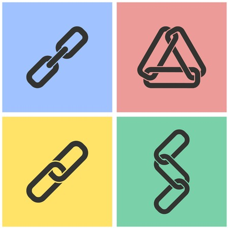 pressure linked: Link vector icons set. Illustration isolated for graphic and web design.