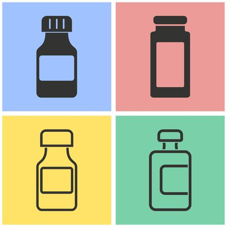 bottle of medicine: Medicine bottle vector icons set. Illustration isolated for graphic and web design.