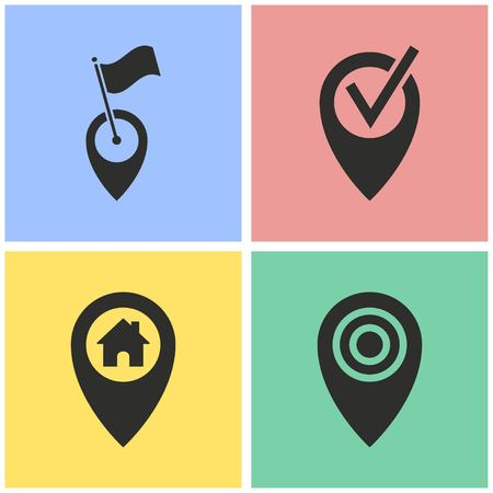 map pin: Map pin vector icons set. Illustration isolated for graphic and web design. Illustration