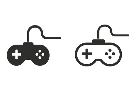 Game controller vector icon. Black illustration isolated on white background for graphic and web design. 向量圖像