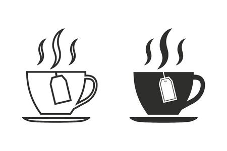 Tea vector icon. Black illustration isolated on white background for graphic and web design. Vektorové ilustrace