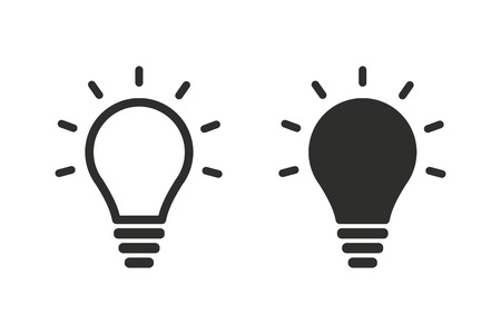 Lamp vector icon. Black illustration isolated on white background for graphic and web design.
