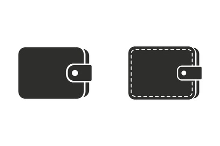 change purse: Wallet vector icon. Black illustration isolated on white background for graphic and web design.