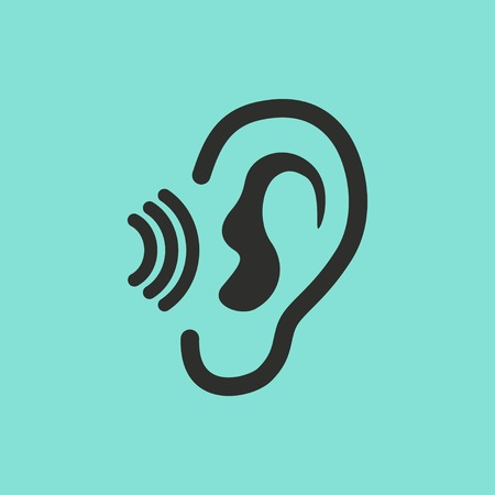 audible: Ear vector icon. Black illustration isolated on green background for graphic and web design. Illustration