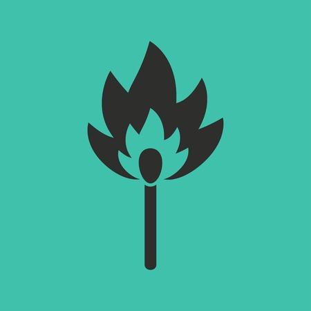 extinguishing: Match vector icon. Black illustration isolated on green background for graphic and web design.