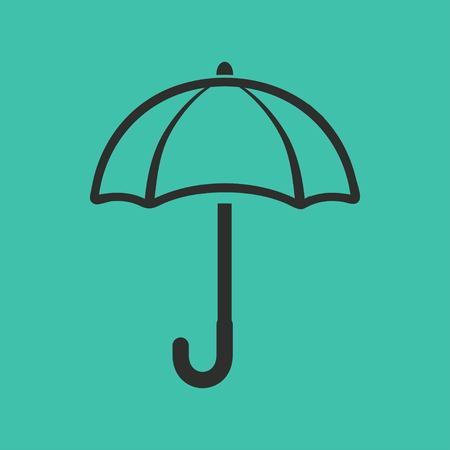 Umbrella vector icon. Black illustration isolated on green background for graphic and web design.