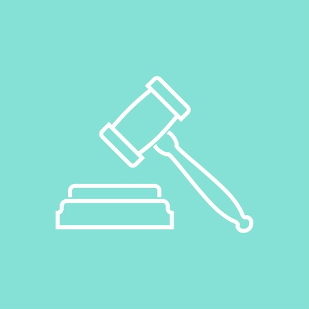 tribunal: Court vector icon. White illustration isolated on green background for graphic and web design.