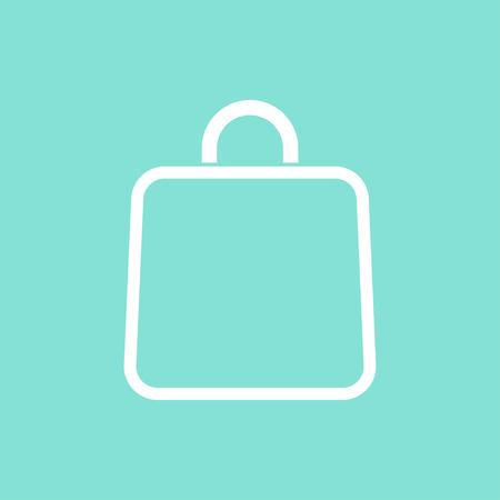 supermarket shopper: Shopping bag vector icon. White illustration isolated on green background for graphic and web design. Illustration