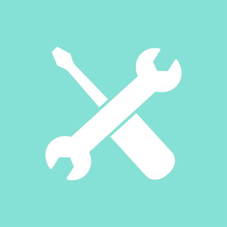 Tool vector icon. White illustration isolated on green background for graphic and web design.