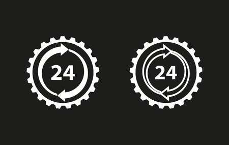 24 hour service vector icon. White illustration isolated on black background for graphic and web design.