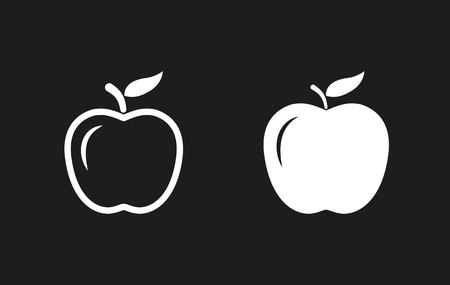 dieting: Apple vector icon. White illustration isolated on black background for graphic and web design.