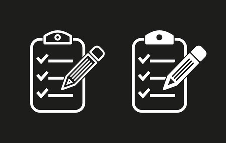 Clipboard pencil vector icon. White illustration isolated on black background for graphic and web design.