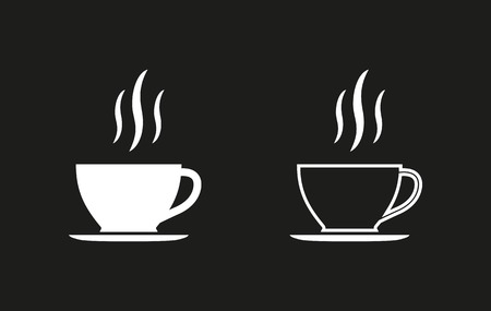 Coffee cup vector icon. White illustration isolated on black background for graphic and web design.