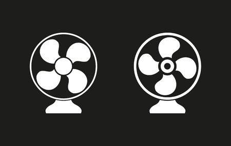 aeration: Fan vector icon. White illustration isolated on black background for graphic and web design. Illustration
