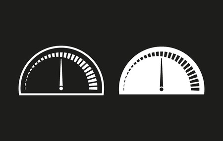 instrument panel: Speedometer vector icon. White illustration isolated on black background for graphic and web design. Illustration