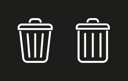 sewage: Bin vector icon. White illustration isolated on black background for graphic and web design. Illustration