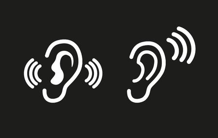 audible: Ear vector icon. White illustration isolated on black background for graphic and web design. Illustration