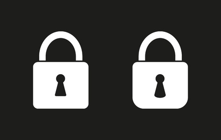 black and white lock: Lock vector icon. White illustration isolated on black background for graphic and web design.