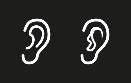 listener: Ear vector icon. White illustration isolated on black background for graphic and web design. Illustration