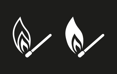 Match vector icon. White illustration isolated on black background for graphic and web design.