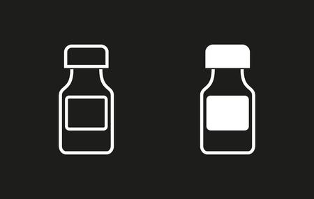 phial: Medicine bottle vector icon. White illustration isolated on black background for graphic and web design.