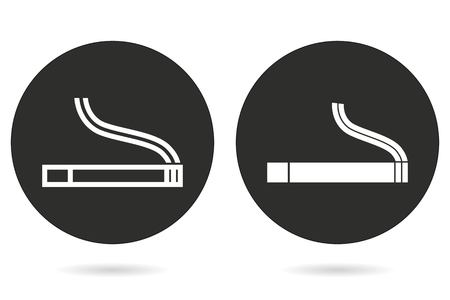 abstain: Smoke vector icon. White illustration isolated on black background for graphic and web design. Illustration