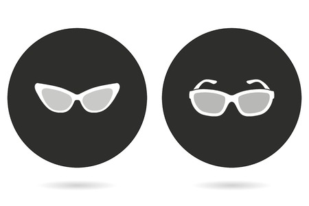 aviators: Sunglasses vector icon. White illustration isolated on black background for graphic and web design.