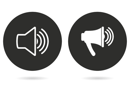 Speaker vector icon. White illustration isolated on black background for graphic and web design.