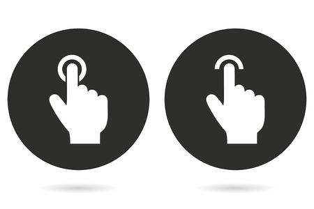 clicking: Touch vector icon. White illustration isolated on black background for graphic and web design.