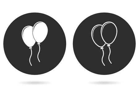 Balloon vector icon. White illustration isolated on black background for graphic and web design. Vetores
