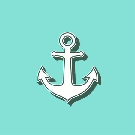Anchor vector icon with shadow. White illustration isolated on green background for graphic and web design. Illustration