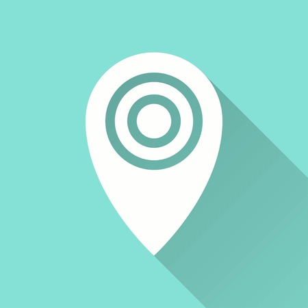 map pin: Map pin vector icon with long shadow. White illustration isolated on green background for graphic and web design.