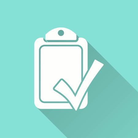 filling folder: Checklist vector icon with long shadow. White illustration isolated on green background for graphic and web design. Illustration